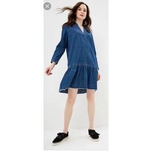 Gap V Neck Denim Popover Dress 357950 Pockets
